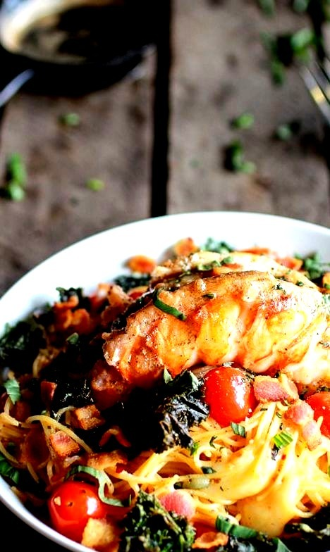 Lobster, Bacon, Crispy Kale, and Fontina Pasta