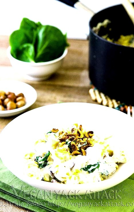 Quinoa Pasta with Creamy Garlic Sauce and Toasted Hazelnuts